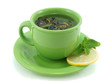 Cup with green tea, with mint and  lemon