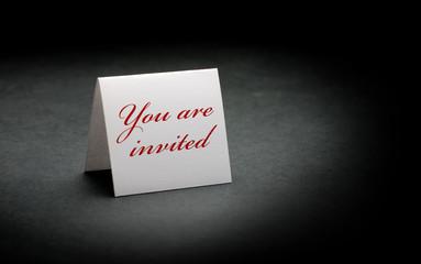 you are invited - celebration  card - invitation on black