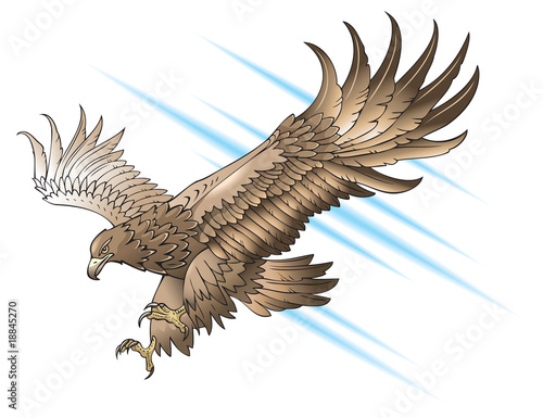 Swooping Eagle with large wings,gradient fill, vector