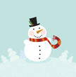 Christmas winter snowman. Vector Illustration.