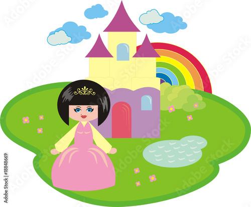 Papiers peints Chateau The little princess and the fantastic castle