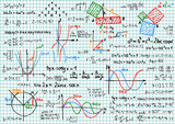 Fototapety Paper with mathematics sketches - vector illustration
