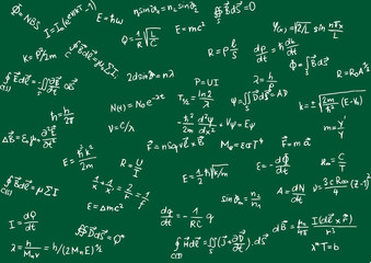 Blackboard with physical formula - vector illustration