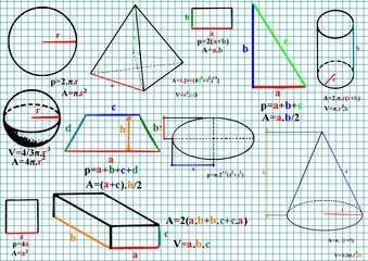 Mathematics formula and sketches - vector illustration