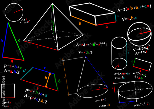 Mathematics formula and sketches - vector illustration