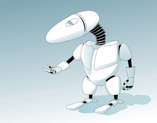 Vector image. Small Robot Need Help!