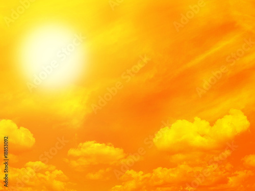 canvas print picture Orange sky and sun
