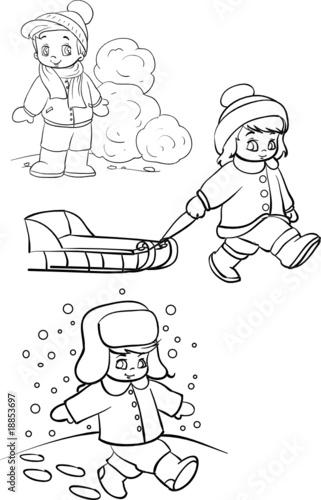 图数字池塘滑冰滑雪男孩童年第游戏雪雪球霜冻体育高兴-寒冷的冬天