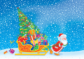 Santa pulls the sledge with the Christmas tree and gifts
