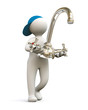 3D Man with Water-Tap