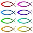 Sammlung Christentum Fisch Symbol Zeichen 8 Farben