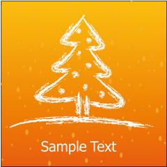 drawn white winter fir-tree on background