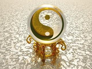 Goldenes 3D Orakel Ying Yang Symbol auf Silber Struktur