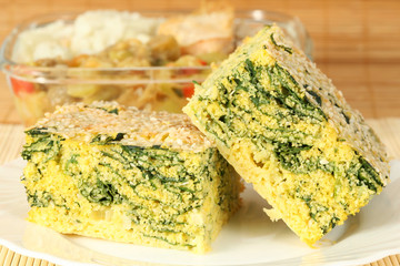 spinach and corn pie