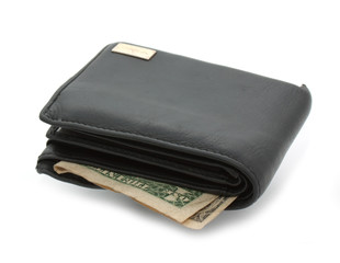 Leather purse with dollar inside