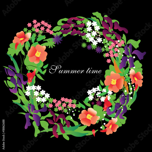 Vector floral wreath with roses and irises