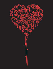 Scarlet rose tree. Valentine`s vector.