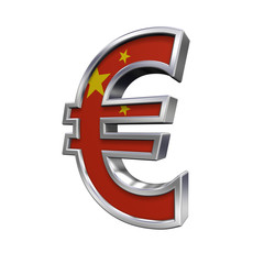 Silver Euro sign with China flag isolated on white.