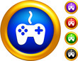 game controller icon on  buttons with golden borders