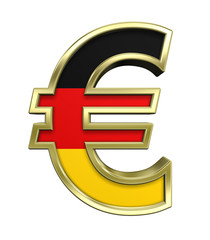 Gold Euro sign with Germany flag isolated on white