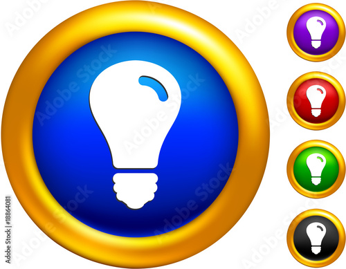 light bulb icon on  buttons with golden borders