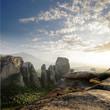 rocks of of Meteora at sunset