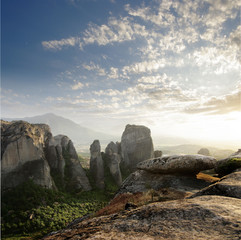 rocks of of Meteora at sunset