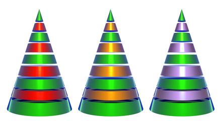 Isolated Decorative Shiny Christmas Trees
