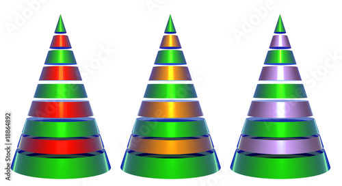 Isolated Decorative Shiny Christmas Trees