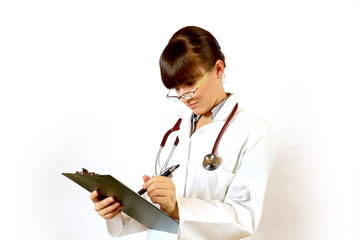Female doctor recording something on notepad and prohibit