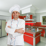Chef in red kitchen poster