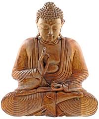 bouddha statuette bois teck fond blanc