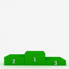 Green pedestal with white numerals isolated on white