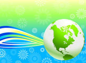 Green Globe on Summer floral background