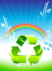 Recycling sign on Rainbow Environmental Conservation Background