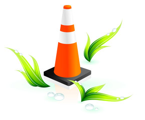Safety cone on grass background