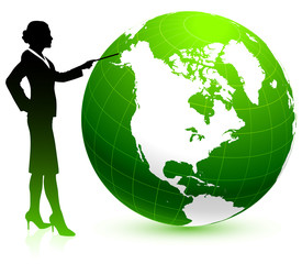 Green globe business background
