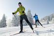 Leinwanddruck Bild - Langlaufen im Winter