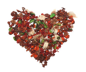 Heart made of dried flowers.