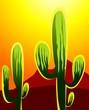 Illustration of a cactus in a desert under sun