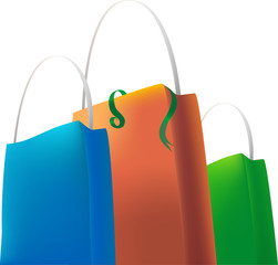 blue orange green shopping bags