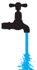 silhouette of a tap with water coming out