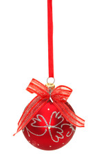 Red christmas ball with ribbon and bow isolated on white