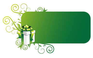 Gift box and green banner