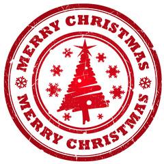 Merry christmas tree stamp