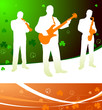 live irish band on abstract celtic background