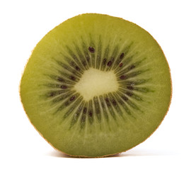 Halved Kiwi fruit  isolated on white background.