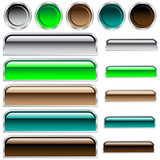 Fototapety Web buttons in assorted shiny colors and shapes