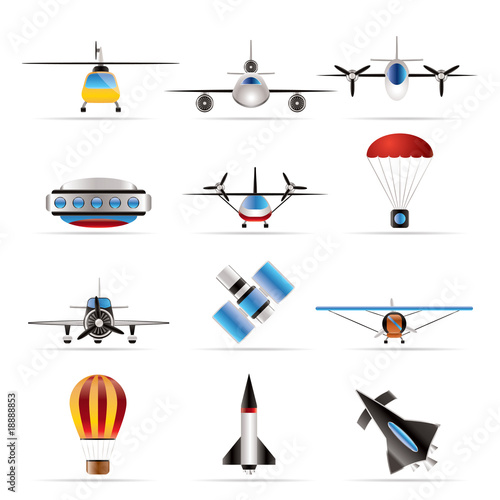 different types of Aircraft Illustrations and icons