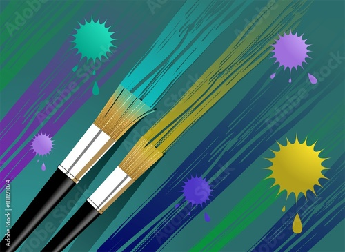 brushes and paints in  a shade background